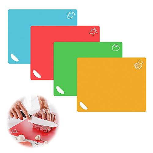 Tabla de Cortar de Plástico Flexible Antideslizantes con Iconos de Alimentos Tabla de Cortar Cocina fáciles de colgar Tablas de Cortar de plástico Segura para lavavajillas de Cocina Color 4 Pi