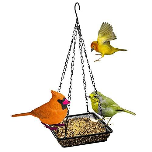 Hanging Bird Feeder Tray, Platform Metal Mesh Seed Tray for Bird Feeders, Outdoor Garden Decoration for Wild Backyard Attracting Bird