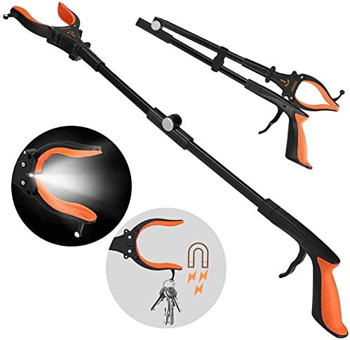 Extendable Grabber Reacher Tool with Headlight 32 inch Foldable Lawn Trash Picker Upper Grabber product image