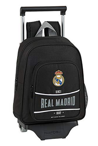 safta 612024020 Mochila pequeña Ruedas, Carro, Trolley Real Madrid CF, Negro