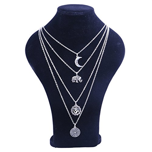 CanViUK Fashion Muti-Layer Necklace for Teen Girls Women Moon Pendant Clavicle Necklace Classic Necklace