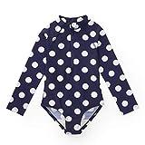 Hope & Henry Girls' Navy with White Polka Dots One Piece Long Sleeve Zip Up Rashgaurd Swimsuit