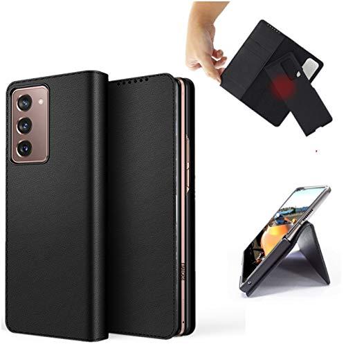 Zouzt Premium PU Ledertasche Für Samsung Galaxy Z Fold2 5G Brieftasche Magnetic Flip Cover Hülle mit Kartensteckplatz TPU Stoßfest Ständer Magnetisch Trennbare Hülle Schwarz