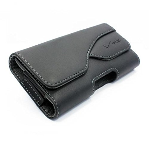 Black Verizon Leather Phone Case Cover Pouch Swivel Belt Clip for Verizon Samsung Droid Charge - Verizon Samsung Galaxy Core Prime - Verizon Samsung Galaxy J1