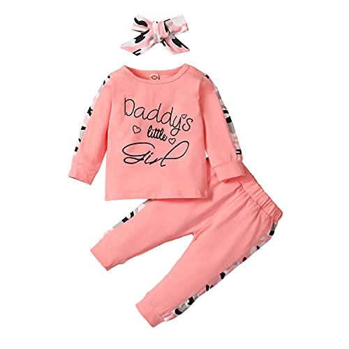 Alunsito Ropa para bebés recién nacidos, sudadera estampada para niñas pequeñas de papá, pantalones de leopardo, diadema, traje rosa 110 2-3 años
