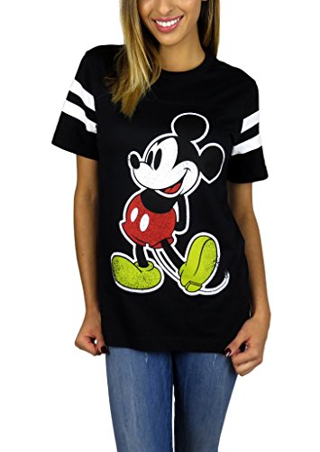 Disney Womens Mickey Mouse Varsity Football Tee Medium Black