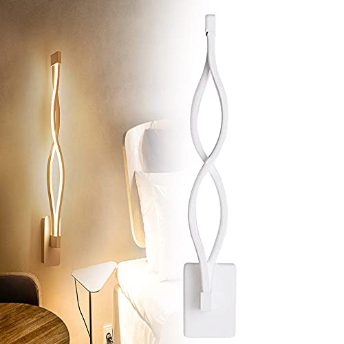 SUNWEII Apliques de Pared para Interiores Retro Espiral Aplique de Pared Baño Moderno Luz de tocador Lámpara de Pared LED de Aluminio de Onda Negra para Sala de Estar
