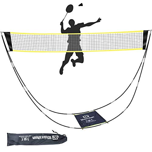 BEFANS Badminton Net Foldable Tennis Volleyball Net Portable Folding Removable Badminton Net Set with Stand Carry Bag for Indoor Outdoor Sports, No Tools or Stakes Required