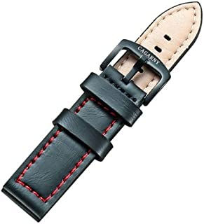 Lanbinxiang@ Simple and Stylish Green Watch with Buckle Leather Strap, Width: 22 mm Fashion (Color : Red)