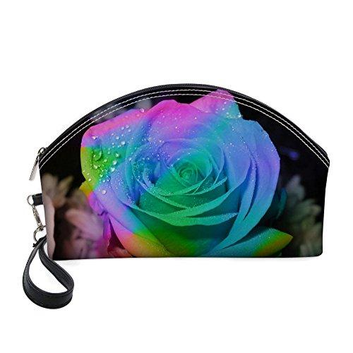 Nopersonality Art Floral Style résistant à l'eau Grand sac de maquillage kit de voyage Sac à main bleu rose 1
