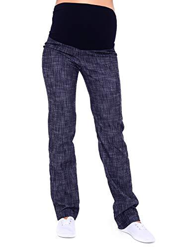 Mija - Klassische Komfortable Schwangerschaftshose Denim Umstandsjeans mit Bauchband 3014 (42, Denim Blau)