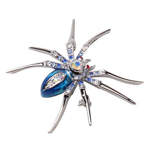 Bonarty Vintage Rhinestone Araña Animal Pierna Larga Broche de Cristal Pin de Fiesta Regalo de La Joyería - Azul