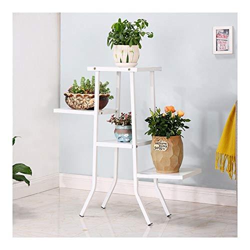 JCCOZ - URG - Soporte para plantas de jardín, con patio, 4 plantas, para interiores y exteriores (42 cm de longitud y 80 cm de altura) URG (color: blanco)