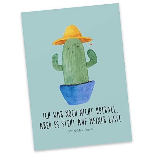 Mr. & Mrs. Panda Grußkarte, Einladung, Postkarte Kaktus Sonnenhut mit Spruch - Farbe Türkis Pastell