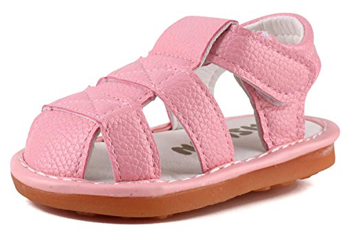 Infant Boys & Girls SqueakySandals Baby First Walkers Sandals Closed-Toe Anti-Slip Rubber Sole Shoes Pink X313-PK15(Foot Length 10.5cm/4.13in)