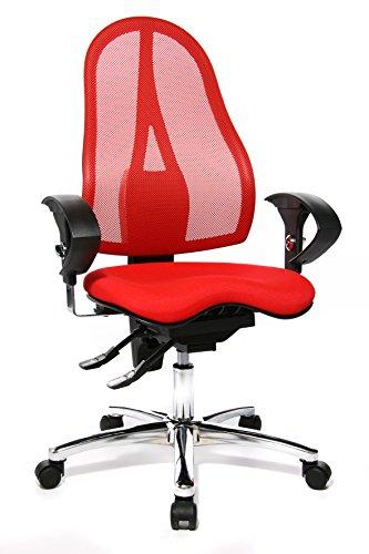 Topstar ST19UG21 Sitness 15, ergonomischer Bürostuhl, Schreibtischstuhl, inkl. höhenverstellbare Armlehnen, Bezugsstoff rot