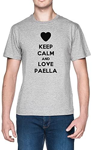 Keep Calm and Love Paella Gris Hombre Camiseta Tamaño M Grey Men