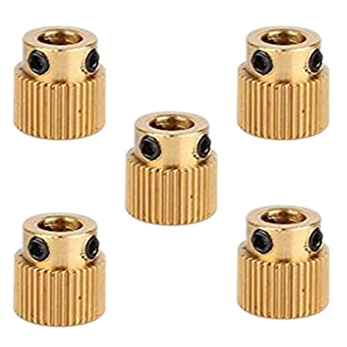 SODIAL 5Pcs Rugged 3D Printer Parts Driver 40 Tooth Gear Brass Extruder Wheel Gear for Printer Cr-10 Cr-10S S4 S5 Ender 3 Pro