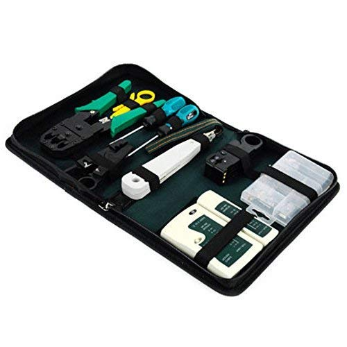 Ardisle – Kit de Red LAN Ethernet RJ11 RJ45 Cat5e TV Cable Tester herramienta de crimpar crimpadora pelacables