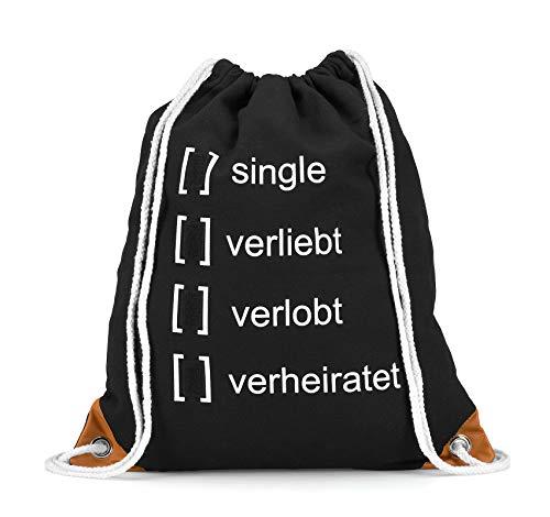 INNOVATION Turnbeutel: Beziehungsstatus über Klettsystem individuell wählbare Hipster Sportbeutel-Tasche Rucksack bedruckter Stoffbeutel mit Innentasche und weißen Kordeln