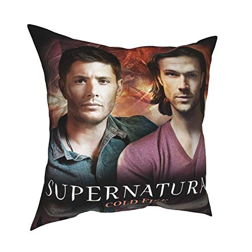 """Supernatural Fire Poster Sam Dean Accessories Throw Pillows Supernatural 15 Years Tv Show Merchandise Soft Pillowcases Family Business Winchester Fans Gifts for Best Friends Birthday 16""""x16"""""""