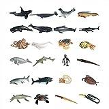 XIAOKEKE Animales Marinos, 24 Pcs Set De Animales De Juguete De Marinos, Marinos Animal World, Mini Figuras De Animales Marinos De Plástico, Fiesta Educativa del Mar, Conjunto De Juguetes Animales