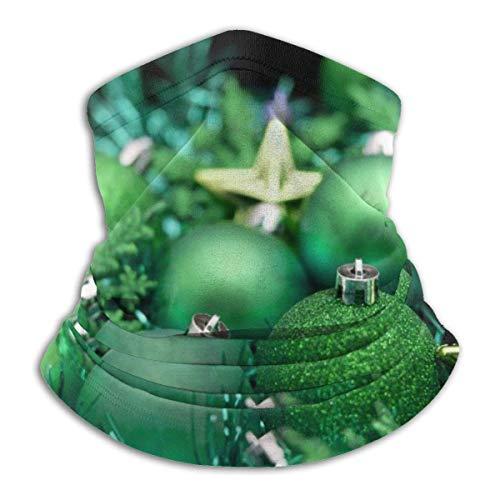 LREFON Bolas de Navidad Verdes y Doradas, Polaina para el Cuello, Bandana, Calentador de Cuello, pasamontañas para Hombres, Mujeres, protección contra el Polvo del Viento y el Sol