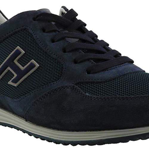 Hogan H205 Scarpe da uomo con punta arrotondata, in pelle blu con logo, codice modello: HXM2050Y810I9M0071, Blu (Bleu Foncé), 40.5 EU