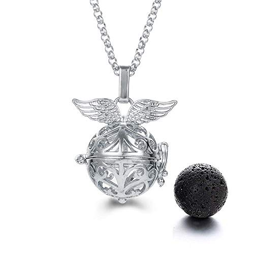 Harry Potter Necklace - Snitch Lava Stone Aromatherapy Pendant Necklace White Gold (White Gold)
