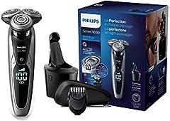 Philips Serie 9000 S9711/32 - Máquina de afeitar con cabezales de 8 direcciones, seco/húmedo, 3 modos y sistema de limpieza SmartClean, incluye perfilador de barba y funda de viaje, plata