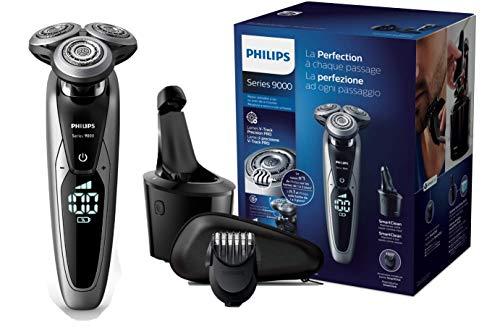 Philips S9711/32 Serie 9000 Wet & Dry Rasoio Elettrico con Lame di Precisione, Regolabarba e Sistema di Pulizia SmartClean, Nero/Cromo spazzolato