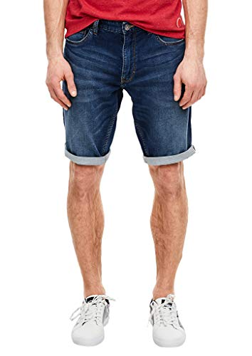 s.Oliver Herren Regular Fit: Stretchjeans-Bermuda Dark Blue stretche 34