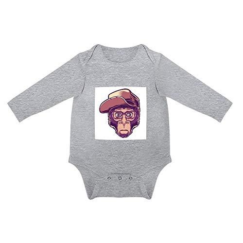 No Branded Langarm Baby Body AFFE der Brillenhut trägt Unisex Baby einfache Langarm Körper 0-24 Monate 6months