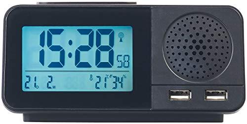 auvisio Radio Funk Wecker: Funk-Radiowecker mit 2 Weckzeiten, Hygro- & Thermometer, 2X USB, 2 A (Radiowecker mit Zwei Weckzeiten)