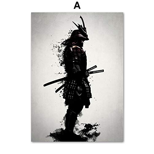 Armored Japanese samurai warrior vintage wall art canvas painting Nordic posters and prints living room decoration painting wall