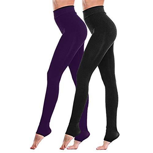 Fixget Damen Leggings, 2 Paar Winter Leggings Hoch taillierte Leggings mit Vollbesatz Damen Power Stretch Leggings, Winter Super Thick Warm...