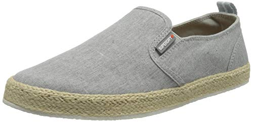 Superdry Herren HYBRID Slip ON Classic Moccasin, Grey Chambray, 44 EU