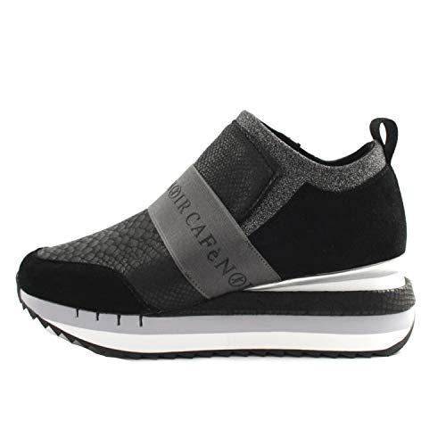CAFèNOIR - Zapatillas deportivas para mujer de tela negra y gris, modelo Slipon, con banda elástica con texto en inglés 'Logo' - Fondo de goma antideslizante con elevación de 6 cm Negro Size: 35 EU