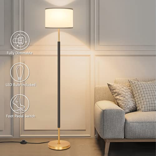 Fully Dimmable Led Floor Lamp, Boncoo Modern Standing Corner Lamp with Pedal Switch, Black Gold Tall...