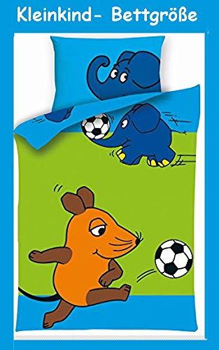 Aminata Kids - Kinder-Bettwäsche 100-x-135 cm Lizenz Sendung mit der Maus-Motiv Baby-Bettwäsche Elefant Ente Blauer Elefant 100-% Baumwolle hell-blau grün Fussball…