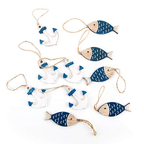 Logbuch-Verlag Deko Set maritim: 5 Fische + 5 Anker blau weiß Natur zum Aufhängen Fischanhänger 6 cm Schiffsanker Hänger 5 cm Hänger Tischdeko basteln