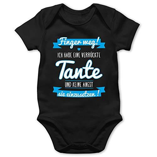 Shirtracer Sprüche Baby - Ich Habe eine verrückte Tante Blau - 1/3 Monate - Schwarz - Baby Kleidung Jungen 0-6 Monate - BZ10 - Baby Body Kurzarm für Jungen und Mädchen