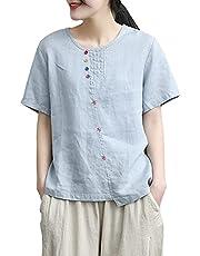 レディース 夏服 トップス 綿 麻 半袖 ブラウス Tシャツ コットン リネン 風 ルーズ 無地 ボタン