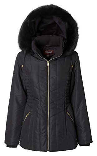 Sportoli Women's Midlength Ruched Detail Plush Lined Puffer Coat with Zip-Off Detacheable Fur Trim Hood - Black with Shiny Gold (Medium)