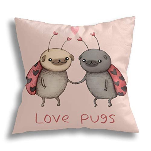 HCLIFE-Love Pugs – Federa decorativa per cuscino con motivo a carlini – Federa standard per divano letto 40 x 40 cm