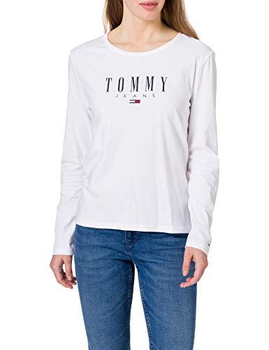 Tommy Jeans Damen TJW SLIM LS LALA TEE T-Shirt, weiß, Small