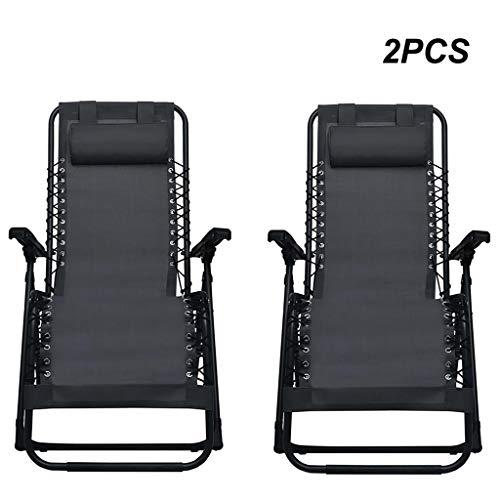 FKBED Conjunto de 2 Patio Tumbona Tumbona, sillas del Patio Negros for Camping Balcón Terraza Ajustables Sillas de jardín con Acolchado de Apoyo for la Cabeza