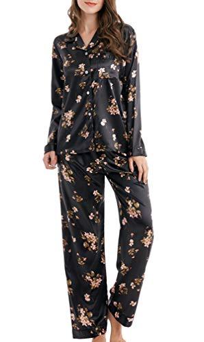 Conjunto de pijama de satén largo para mujer