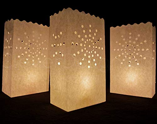 CleverDelights White Luminary Bags - 50 Count - Sunburst Design - Wedding, Reception, Party and Event Decor - Flame Resistant Paper - Luminaria
