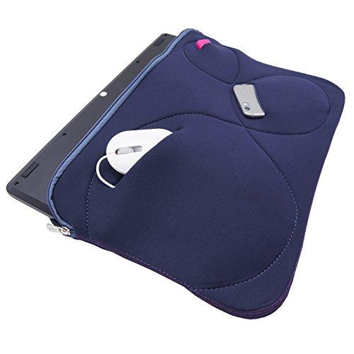 Notebook Tasche Mappe Hulle Neopren fur MacBook Laptop bis 173 Schutztasche Cover 3 Zubehorfacher Blau